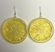 Extra Large Lemon Slice Fruit Earrings Kitsch A222 Yellow Slice Oversized Sil