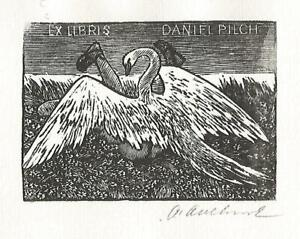 Exlibris Bookplate LEDA & SWAN by Antonin ODEHNAL/CZECH