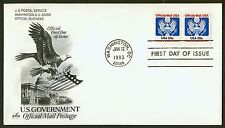 #O135 20c Official Mail-Coil Pair, Art Craft FDC **ANY 4=FREE SHIPPING**