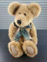 """VTG 1997 Boyds Collection Bean Bag """"Cimarron"""" Tan Teddy Bear 16"""" Plaid Bow"""