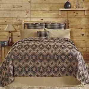 Jefferson Star Queen Chenille Woven Jacquard Coverlet Tan/Black Stars Bedspread