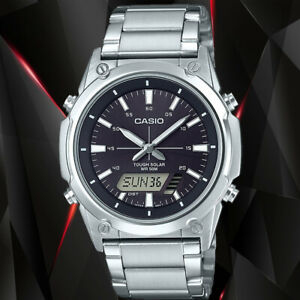 NEW Casio AMW-S820D-1A Men's Tough SOLAR Watch Digital Analog Brown Steel Band