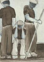 Angela Hayes - Contemporary Acrylic, Study of Three Figures