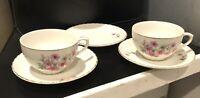2-Vintage tea cup & saucer Pink Floral Design Gold Trimmed 1 extra Saucer Japan
