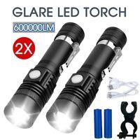 2X 60000lm CREE T6 XM-L Flashlight LED Torch Bike Mount USB Rechargeable AU