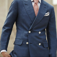 Double-Breasted Men Suits Peak Lapel Four Buttons Blue Jacket Blazer Coat Custom
