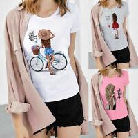 Women Print T-Shirt Summer Tops Ladies Short Sleeve Pullover Casual Shirt Blouse