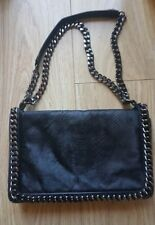 Zara Black Leather Crossbody Pony Hair Chain Embossed Bag SOLD OUT