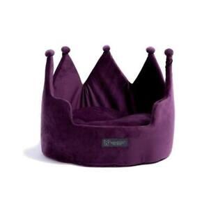 Dog & Cat Crown Bed Micro Plush (Purple)