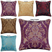 "NEW JACQUARD DECORATIVE FLORAL DAMASK CUSHION COVERS OR FILLED 18""x18"""