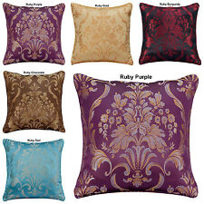 """NEW JACQUARD DECORATIVE FLORAL DAMASK CUSHION COVERS OR FILLED 18""""x18"""""""