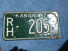 VINTAGE ORIGINAL KANSAS 1962 RH 205 License VEHICLE Tag Man Cave Reissue.