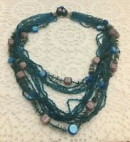 Lovely Vintage # Strand Blue Glass Seed Beaded Necklace Japan