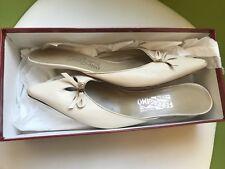 Salvatore Ferragamo Mule Shoes/ Aladi /Ivory Leather/Women Low Heels/Size:9.5