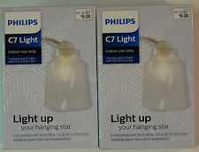 New! Lot of 2 Philips C7 Light with Clear Cover, Indoor 12 ft Cord