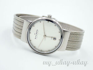 SKAGEN 355SSS1 Silver Dial All Stainless Steel Mesh Band Ladies Watch