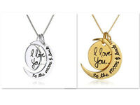 "Women ""I Love You To The Moon and Back"" Two-Piece Pendant Necklace 18"" Chain"