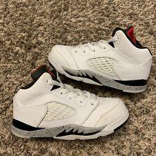Air Jordan Retro 5 White Cement Grey Black 2017 Sneakers Size Baby 9C