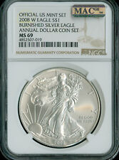 2008-W SILVER EAGLE NGC MAC MS-69 PQ ANNUAL SET 2nd FINEST GRADE SPOTLESS  .