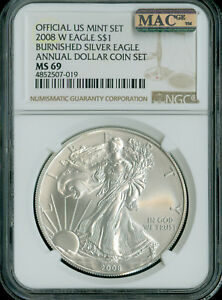 2008-W SILVER EAGLE NGC MAC MS-69 PQ ANNUAL SET 2nd FINEST GRADE MAC SPOTLESS .