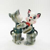 Vintage Japan Cat Salt Pepper Shakers Hugging Anthropomorphic Dressed     INV429