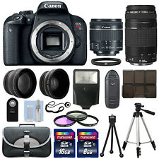 Canon EOS T7i SLR Camera + 4 Lens Kit 18-55 STM + 75-300mm + 24GB Top Value Kit