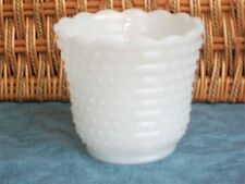 "White Milk Glass Vase Jardiniere Hobnail Vintage 4"""