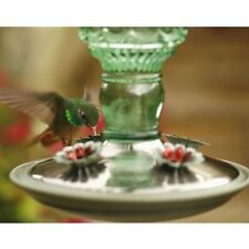 Glass Hummingbird Bird Feeder Green Antique Bottle 10oz Nectar Feeder Capacity