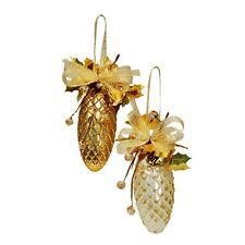 Weiste Oro & Cream decorativo PINO coni albero decorazioni x4 89760 NUOVO 19672