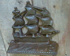 Antique Cast Iron Bookend Ship maker Bronz Met SINGLE BOOK END 1920's Depression