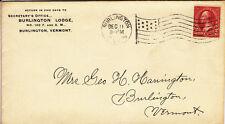 US Cover - Burlington Lodge # 100 with Flag Machine Cancel - US 6132