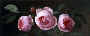 Art Oil painting Carl Vilhelm Balsgaard - Roses still life flowers in landscape