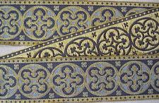 "2¼"" Wide Jacquard Christian Vestment Trim Gold &Blue Medieval Gothic DIY"