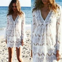 Womens Cover up Lace Swimsuit Beachwear Bikini Crochet Mini Dress
