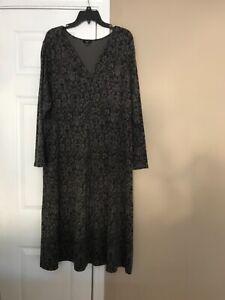Talbots Black & Gray Paisley Wool Blend Long Sleeve Stretch Midi Dress size 16W