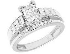 10K White Gold Real Diamond Princess Cinderella Engagement Ring 1/2 Ct 7MM