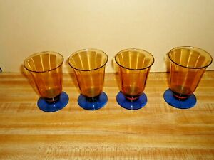 """4 Amber & Blue Footed 3"""" Cordial Bar Glasses in good shape - No Reserve"""