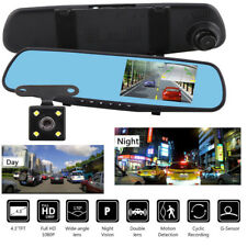 4.3'' 1080P Dual Lens Car Auto DVR Mirror Dash Cam Recorder Rear View Camera Kit