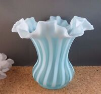 "Vintage Fenton Blue Opalescent Rib Optic Striped Ruffle Rim Art Glass Vase 6"""