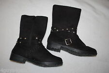 "Womens BLACK STUDDED FASHION BOOTS Faux Suede ADJ BUCKLE 1"" Heel ZIPPER Size 8"