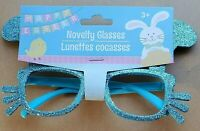 Blue Glitter Easter Bunny Novelty Glasses