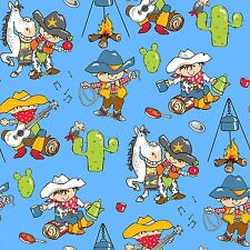 Fabric Baby Cowboy Campfire Cactus Horse on Blue Flannel by the 1/4 yard