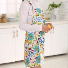 Women Restaurant Home Kitchen Cooking Apron Bib Floral Pattern Precise Blue