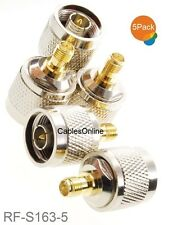 5-Pack N-Type Male to RP-SMA Reverse Polarity Female RF Adapters, RF-S163-5