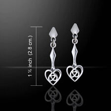 Celtic Knotwork Heart .925 Sterling Silver Earrings by Peter Stone
