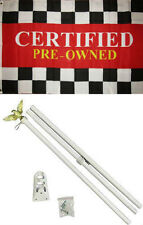 3x5 Advertising Certified Pre - Owned Flag White Pole Kit Set 3'x5'