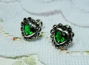 My S Collection 925 SterlingSilver & Marcasite CubicZirconia Heart Stud Earrings