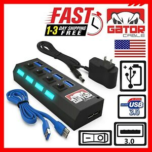 USB 3.0 Hub 4-Ports Adapter Powered Data Sync Super Speed PC Mac Laptop Desktop
