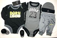 AIR JORDAN BABY BOY 5-Pc GIFT Set: Bodysuits, Pants, Cap & Booties 0-6 Months.