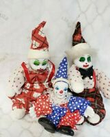 """VINTAGE 3 Small Clown Doll Porcelain Face Moveable Arms & Legs Dressed 9&6"""" Tall"""